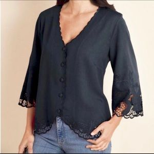 Soft Surroundings Half Moon Bay Bell Sleeve Top